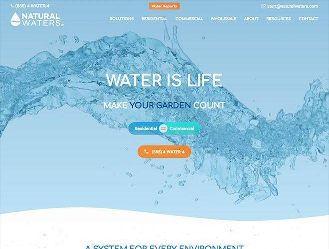 natural waters b2b website design